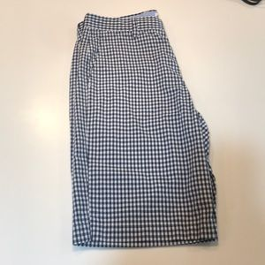 J Crew Navy And White Checked Shorts